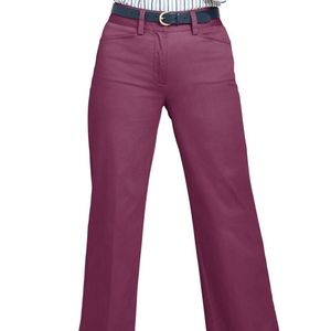 Lands' End Mid Rise Wide Leg Chinos Mulberry NWT